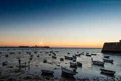 Mariscando en la Caleta (Javier Martinez de la Ossa) Tags: andalucía bahiadecádiz barcas caleta cádiz españa javiermartinezdelaossa ocaso puestadesol