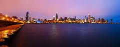 Chicago Glowing Pink (AJ Brustein) Tags: chicago chitown windy city winter cold reflections pink hue cloud cover fog sky blue hour light urban pier planetarium adler skyline cityscape lake michigan great lakes sears willis john hancock famous building skyscrapers panorama 7 stich photo aj brustein canon 5dm3 5d mark iii night evening glow long exposure