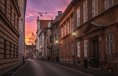 solitary evenings (cherryspicks (on/off)) Tags: zagreb croatia sunset street light lamp buildings architecture historic matoševa urban city mood atmosphere travel