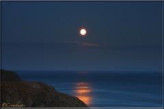 Full (Honey) Moon. Friday 13th June 2014 (Crowbuster) Tags: moon june swansea wales coast strawberry cymru cliffs full honey coastline gower friday 13th 2014 abertawe crowbuster