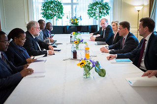PMI Katainen meets with Carl H. G. Schlettwein, Minister of Trade and Industry of Namibia on 3 June 2014.