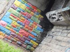Street art on River Taff, Cardiff (DJLeekee) Tags: street colour art graffiti bricks cardiff blocks millenniumstadium rivertaff
