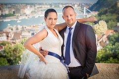 Wedding on the top of Budapest (.:dewfah::photo:.) Tags: blue wedding white flower cute art love happy bride fisherman couple married view natural budapest handsome tie husband naturallight wed translucent fishermans weddingdress bastion danube newly newlyweds reflector natty fishermansbastion weds 110cm