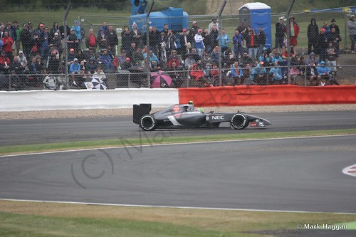Esteban Gutierrez spins in his Sauber during qualifying for the 2014 British Grand Prix