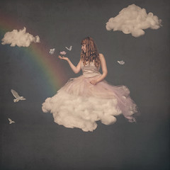 Somewhere Over the Rainbow (Grant MacIvor) Tags: red sky texture girl birds clouds photomanipulation photoshop balloons rainbow nikon dress longhair butterflies floating levitation redhead fineartphotography levitate surrealphotography whimsicalphotography conceptualphotograhy grantmacivor
