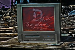 Detroit is a Phoenix-it will rise again (SCOTTS WORLD) Tags: light shadow summer sunlight streetart art phoenix digital fun fire graffiti tv midwest decay michigan exploring detroit july panasonic adventure layer enhanced mythical 313 2014 motown heidelbergproject motorcity artobject risingfromtheashes
