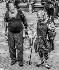 Two together, old together. (CWhatPhotos) Tags: pictures old city uk bridge england white man black history monochrome that lens prime mono photo women focus couple foto durham with view bright artistic photos pics north picture pic historic east have fotos presentation aged f18 which zuiko 45mm timeless contain omd pensioners pensioner em10 olympusl