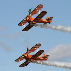 Breitling Wingwalkers  1 (ahisgett) Tags: red race air wing ascot bull boeing walkers biplane stearman 2014 breitling wingwalker model75