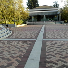 city hall and community center (N@ncyN@nce) Tags: architecture design vanishingpoint pattern landscaping cityhall mosaic bricks perspective courtyard quad patio midcentury communitycenter eamesera
