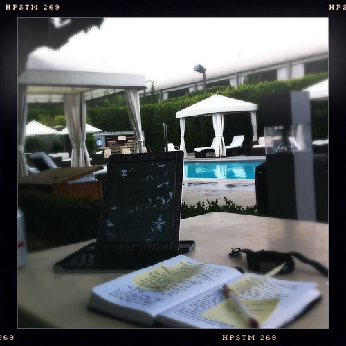 I've gone native. Working by the pool, Hotel Luxe Sunset Blvd.