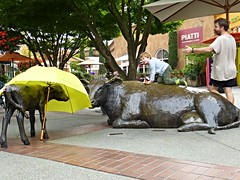 """Coming Home,"" Bronze sculptures by Georgia Gerber (ali eminov) Tags: seattle children washington malls sculptures cominghome shoppingmalls universityvillage sculptors bronzesculptures georgiagerber"