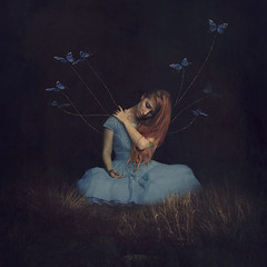 to serve (brookeshaden) Tags: selfportrait field fairytale fly wings lift darkness butterflies story fallen squareformat redhair symbolism storytelling fineartphotography maleficent bluedress whimsicalart conceptualphotography lostwings fairytalephotography brookeshaden