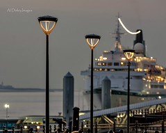 Light of the Albatross (alundisleyimages@gmail.com) Tags: tourism liverpool streetlight dusk transport shipping pierhead attraction albatross wirral merseyside cruiseliner rivermersey nikond7100