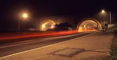Streaking Home (RZ68) Tags: road above street bridge light 120 robert film night golden rainbow gate san francisco long exposure near painted marin trails twin grade 101 velvia freeway headlands tunnels streaks provia waldo rz67 ggnra halligan e100