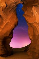 Twilight at Antelope Canyon (Wayne Pinkston) Tags: longexposure sky night canon stars landscape twilight canyon antelope nightsky navajoreservation antelopecanyon pagearizona upperantelope canon6d pwnight