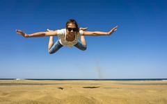 My Princess in full flight - Fuerteventura - Cofete Beach (stefanfricke) Tags: prinzessin princess beach cofete fuerteventura ocean girl jump fun sony ilce6000 a6000