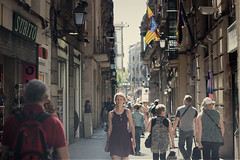 Slow-motion, the only way she knows how. (felipesampaiophoto) Tags: barcelona street old woman girl canon lens photography eos 50mm town spain crowd streetphotography f18 ef 600d