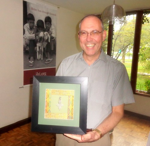 Iain Wright with his present from ILRI staff