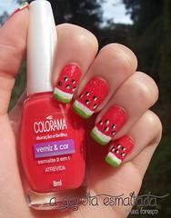 Nail Art: Melancia 2.0 (A Garota Esmaltada) Tags: fruit watermelon melancia nails nailpolish bruna unhas nailart esmaltes naildesign unhasdecoradas unhasartisticas agarotaesmaltada