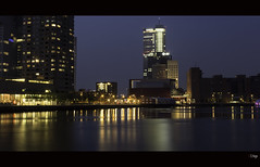 Penthouses for rent (zilverbat.) Tags: nightphotography haven holland skyline architecture night reflections dark harbor rotterdam europa exposure cityscape waterfront skyscrapers availablelight thenetherlands bluehour maas luxor bollen hotspot 010 nieuwemaas grandcafe citytrip waterstad avondfotografie rotterdambynight waterweg rijnhaven posthumalaan stadshavens hillelaan urbanvibe zilverbat kennismarkt cityportal zuidoever drijvendpalviljoen longexposurebynight longexposurenetherlands elvinhagekpnplanetnl deltastad