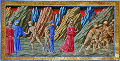 Inferno - Dante and Virgil being met by the soul of Brunetti Latini, Dante's teacher, who walks on with Dante (petrus.agricola) Tags: brown london dan dante library illuminated inferno british 36 manuscript divina thompson canto yates commedia bl alighieri