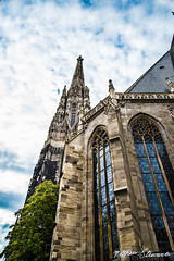 St. Stephen's Cathedral, Vienna (Matthewjs007) Tags: vienna city blue summer sky sun church clouds austria europe cathedral gothic sunny bluesky stainedglass stainglass hdr bigcity