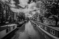 (McQuaide Photography) Tags: city blackandwhite bw holland water netherlands monochrome amsterdam canon landscape eos blackwhite europe cityscape nederland dslr stad uwa wideanglelens ultrawideangle 100d 1018mm mcquaidephotography canon1018mm