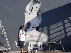 LA street artist at work - dreamgirl (ashabot) Tags: people streetart art graffiti losangeles cities streetlife artists streetscenes