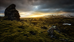 [ ... the lithic watcher ] (D-P Photography) Tags: sun green rock sunrise canon landscape island iceland moss mood south reykjavik mystic lithic sudurland leefilters dpphotography ndndgrad