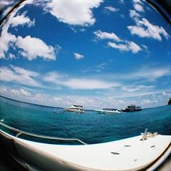 Island cruising in Thailand (MellySparkles) Tags: cruise blue island fisheye diana waters phuket jetboat