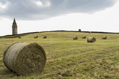 Hay bales at Hartshead Pike, Greater Manchester (PhotographKaty) Tags: tower monument hill straw hay bales ashtonunderlyne feild greatermanchester hartsheadpike gradeii