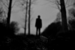 au bord (asketoner) Tags: trees shadow lake selfportrait blur nature hat silhouette night landscape pond ghost gothic blurred disappearing rochefortsurloire