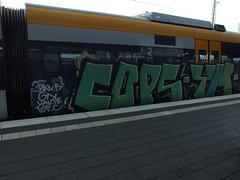 COPS - YM (mkorsakov) Tags: green train graffiti cops zug bahnhof colored grn hbf bunt ym mnster dqs