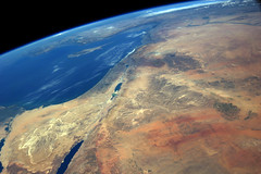 Middle-East and the Mediterranean Sea (sjrankin) Tags: lebanon turkey israel edited palestine iraq egypt cyprus nasa jordan syria limb deadsea saudiarabia iss mediterraneansea gaza sinaipeninsula earthslimb iss040 26august2014 iss040e105778