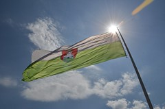 (m_a__s_a) Tags: travel blue light red sky sun white green nikon scenery flag slovenia ljubljana d7000