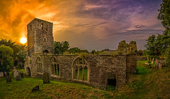 Church Ruin (dkphotographs) Tags: greatbritain trees light sunset red sea summer england sky panorama orange sun sunlight church beautiful field yellow clouds evening spring ruins sundown cathedral britain great over ruin chapel british summertime remains hdr highdynamicrange fragment in churchruin sonyslta57 sonyalpha57