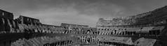 Welcome to the Coliseum (Sara F. Massieu) Tags: trip morning viaje sky blackandwhite bw italy rome roma byn blanco maana clouds canon ruins rocks italia y negro panoramic ruina coliseo international ruinas coliseum romans romana reconstruction panormica reconstruccin mexian 60d