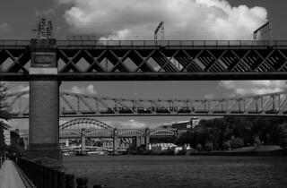 King Edward VII Bridge plus Metro Train on Queen Elizabeth II Bridge, Newcastle Upon Tyne