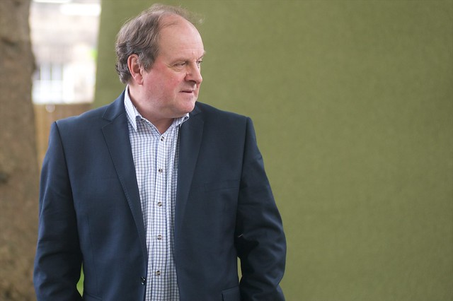 James Naughtie strikes a pose for the press photographers