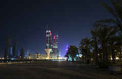 Walking at night! (noehurtadoo) Tags: night buildings palms lights bahrain