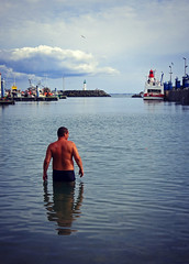 Harbor swimmer (Lau31) Tags: ocean blue man france water swimming swim harbor swimmer