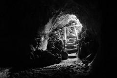 Catacombs (J-Fish) Tags: california blackandwhite bw stairs cave catacombs nationalmonument lavatube lavabedsnationalmonument d300s 1685mmf3556gvr 1685mmvr catacombscave