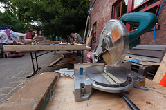 No drag racing in this power tool's near future (Dennis Valente) Tags: seattle usa art washington fremont fac powerhouse powertool solsticeparade 2015 fremontsummersolsticeparade fremontartscouncil mitersaw preparade