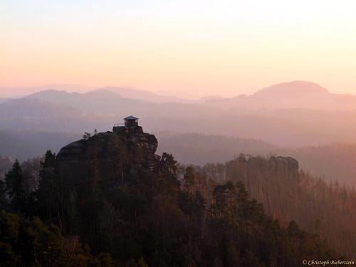 eiskalter Abend über den Dittersbacher Felsen