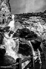 Wapama Falls in B&W (tibchris) Tags: california bridge blackandwhite bw girl landscapes waterfall hiking hike yosemite yosemitenationalpark hetchhetchy snapchris wampamafalls
