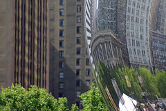 ... alternate  universe (mariola aga) Tags: city distortion chicago reflection architecture buildings downtown dof bokeh millenniumpark 75300mm cloudgate thebean alternateuniverse thegalaxy