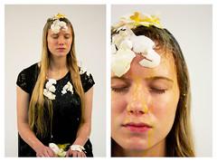 Cracked (Celeste Burns) Tags: portrait black face fashion canon studio shower model mess lace egg gross messy eggs cracked moisture yolk
