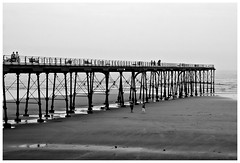 On the Pier . (wayman2011) Tags: people beach canon coast seaside seascapes piers northyorkshire saltburnbythesea bwlandscapes canon50d