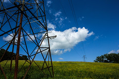and more pylons (rtwbrookes) Tags: england cloud nature field canon photography sussex photo manmade blueskies pylons
