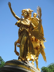 Civil War Statue General Sherman on Horseback with Angel 1330 (Brechtbug) Tags: street plaza new york city nyc roof cactus building green art yellow statue architecture angel bronze gold hotel leaf wings construction hands war pin afternoon shadows general near top flag fingers profile civil american underneath needles avenue 5th cushion sherman 59th the 06152014